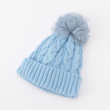 チュール梵天つきニット帽