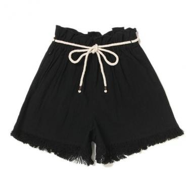 繩腰帶,下擺條紋裙褲