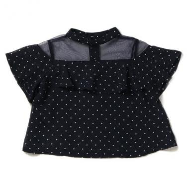 Mock neck see-through switching blouse